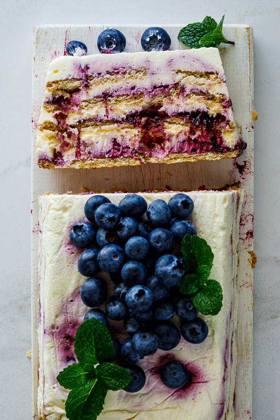 Easy blueberry lemon icebox cake