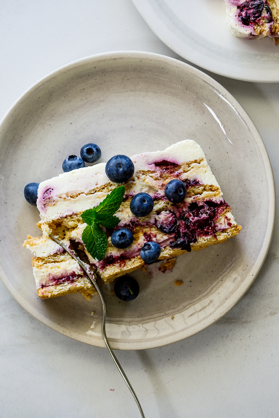 Easy blueberry lemon icebox cake with fresh blueberries.