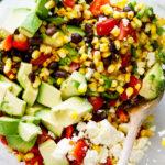 Grilled corn avocado black bean salad