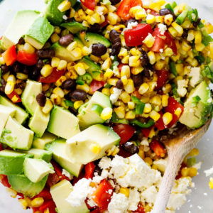 Grilled corn avocado black bean salad