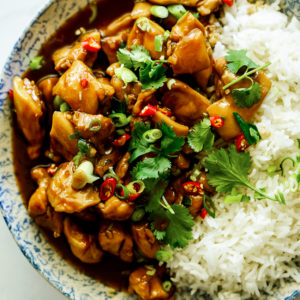 Easy coconut caramel chicken with rice.