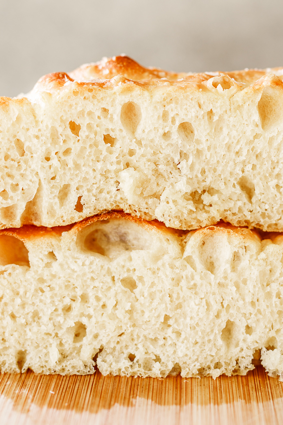 Easy focaccia bread is soft on the inside and crisp on the outside.