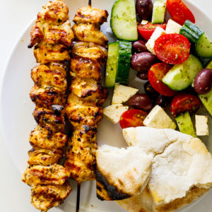 Greek grilled chicken skewers