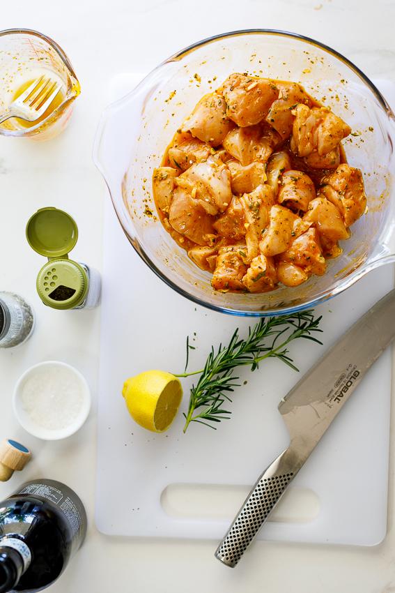 Chicken marinated in easy Greek marinade.