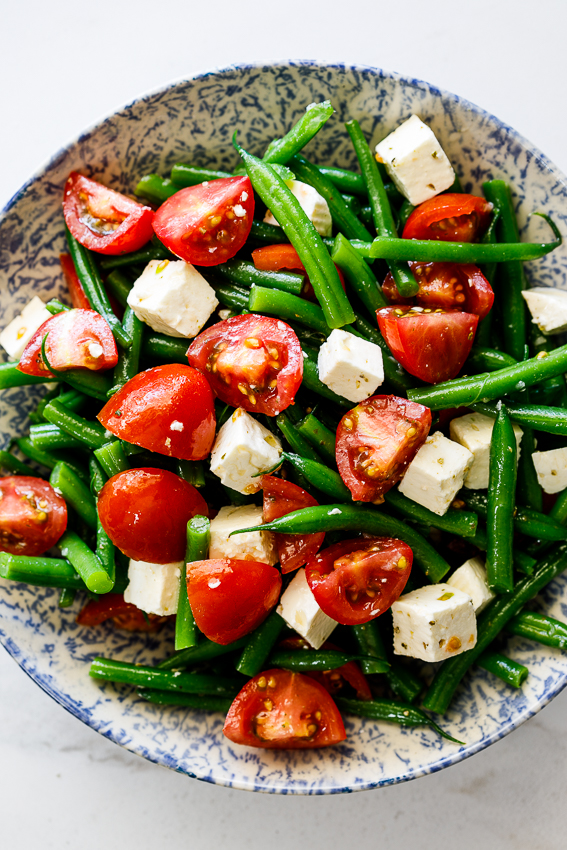 Easy tomato feta green bean salad