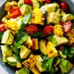 Grilled corn avocado salad