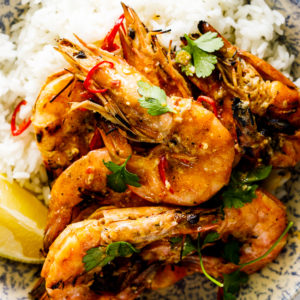 Grilled garlic butter prawns