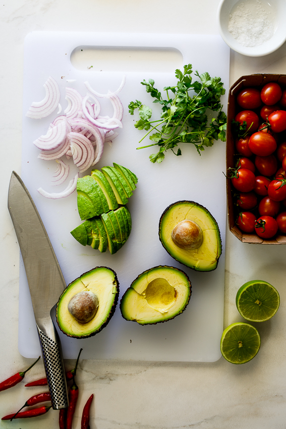 Ingredients for guacamole salad.