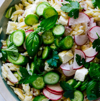 Easy lemon orzo salad with cucumber and feta cheese