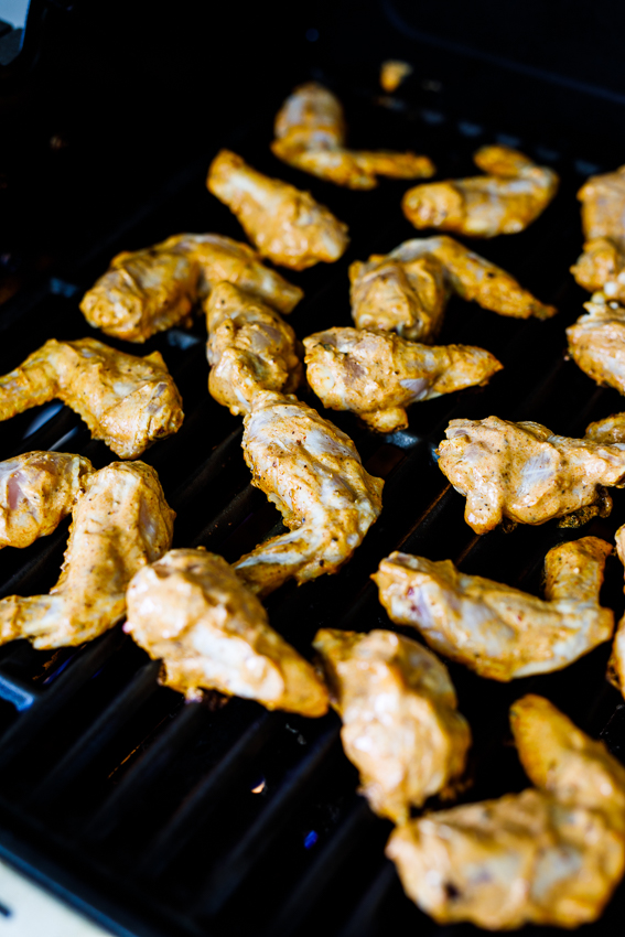 Tandoori wings on the grill.