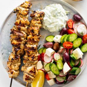 Chicken souvlaki with zucchini tzatziki