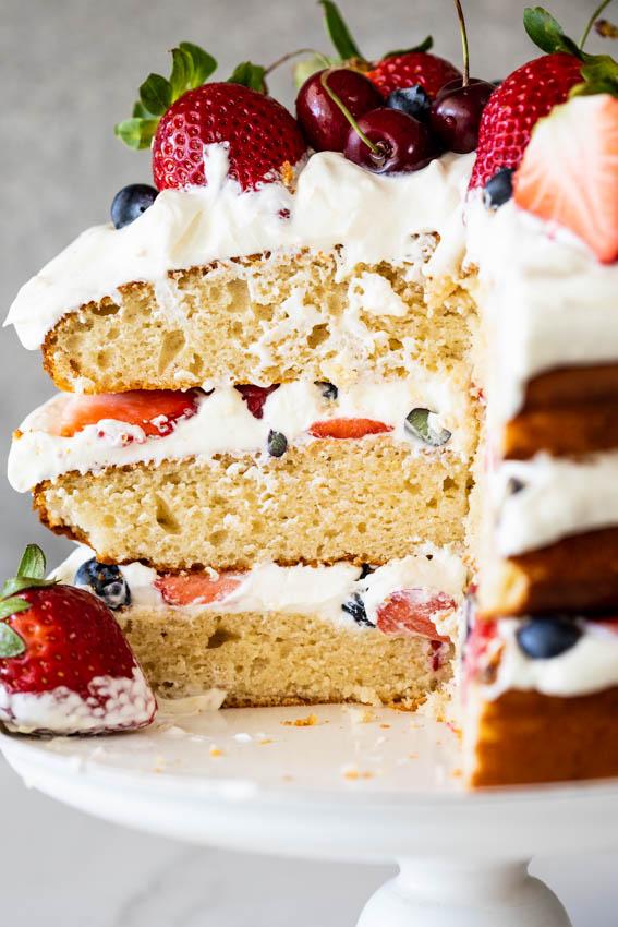 Layers of lemon-scented vanilla sponge, berries and cream.