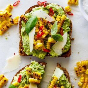 Grilled corn smashed avocado toast