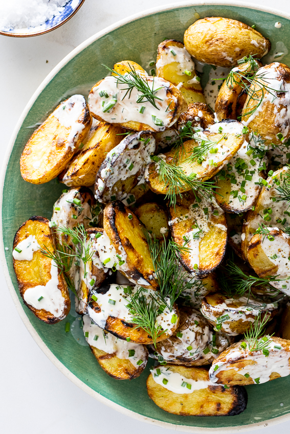 Grilled potato salad with sour cream dressing