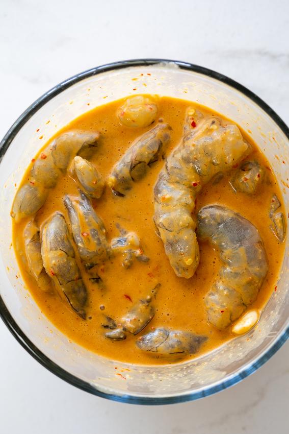 Shrimp marinated in spicy garlic marinade.