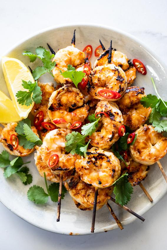 Spicy garlic shrimp skewers