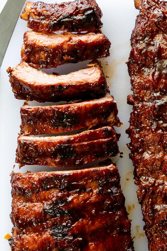 Sticky, juicy ribs glazed with BBQ sauce.