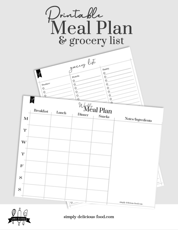 Meal plan and grocery list.