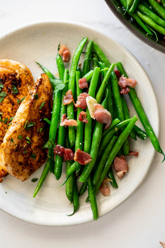 Bacon garlic sauteed green beans