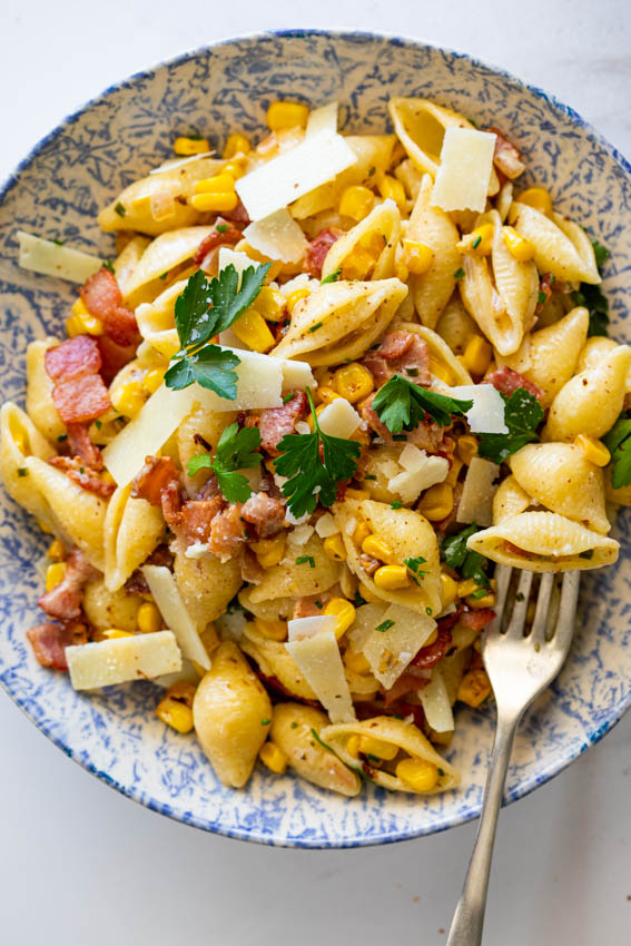 Creamy bacon corn pasta