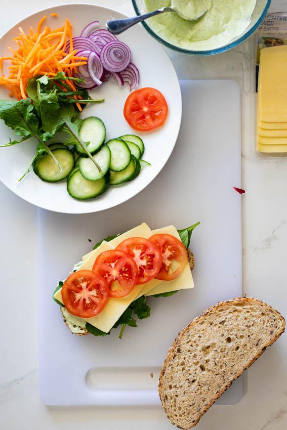 Easy healthy salad sandwich