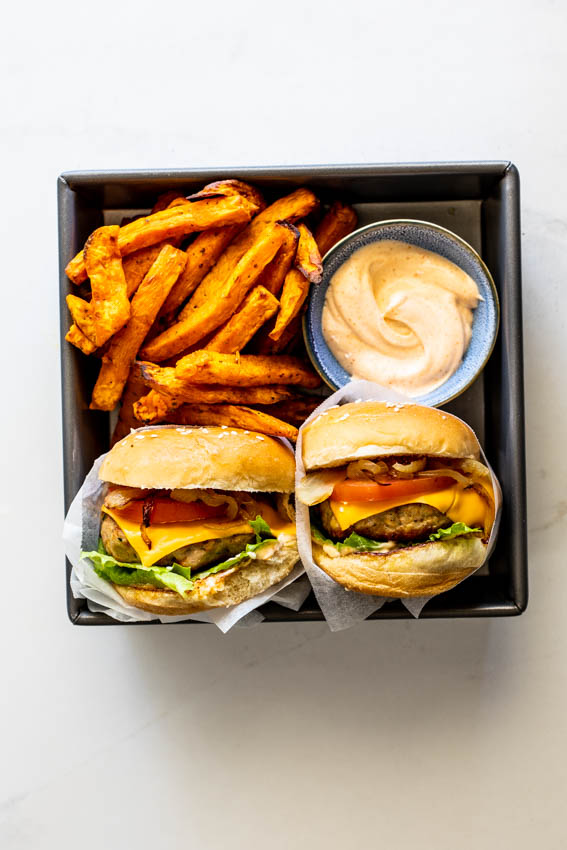 Turkey burgers and sweet potato fries.