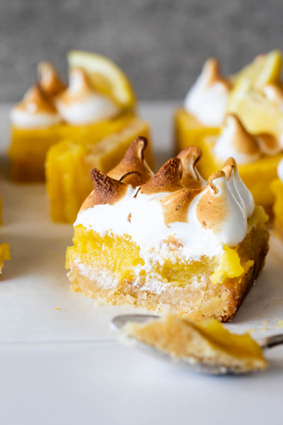 Lemon bars with easy crust and torched meringue.