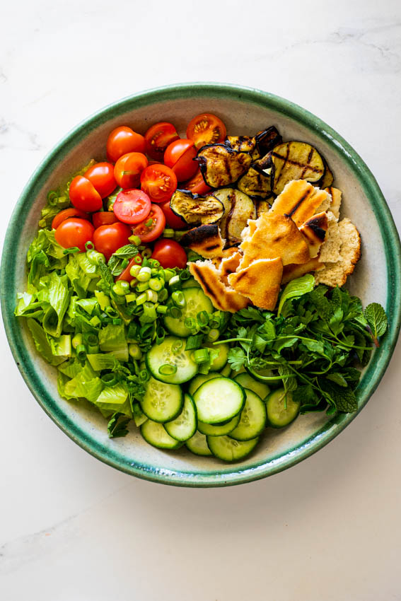 Fattoush salad with grilled eggplant.