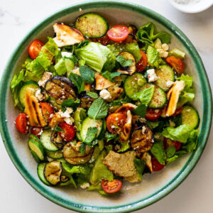 Grilled Fattoush Salad with Eggplant