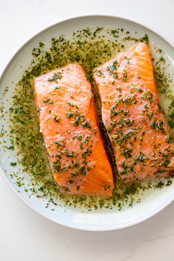Marinated salmon.
