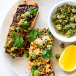 Grilled salmon with lemon caper sauce