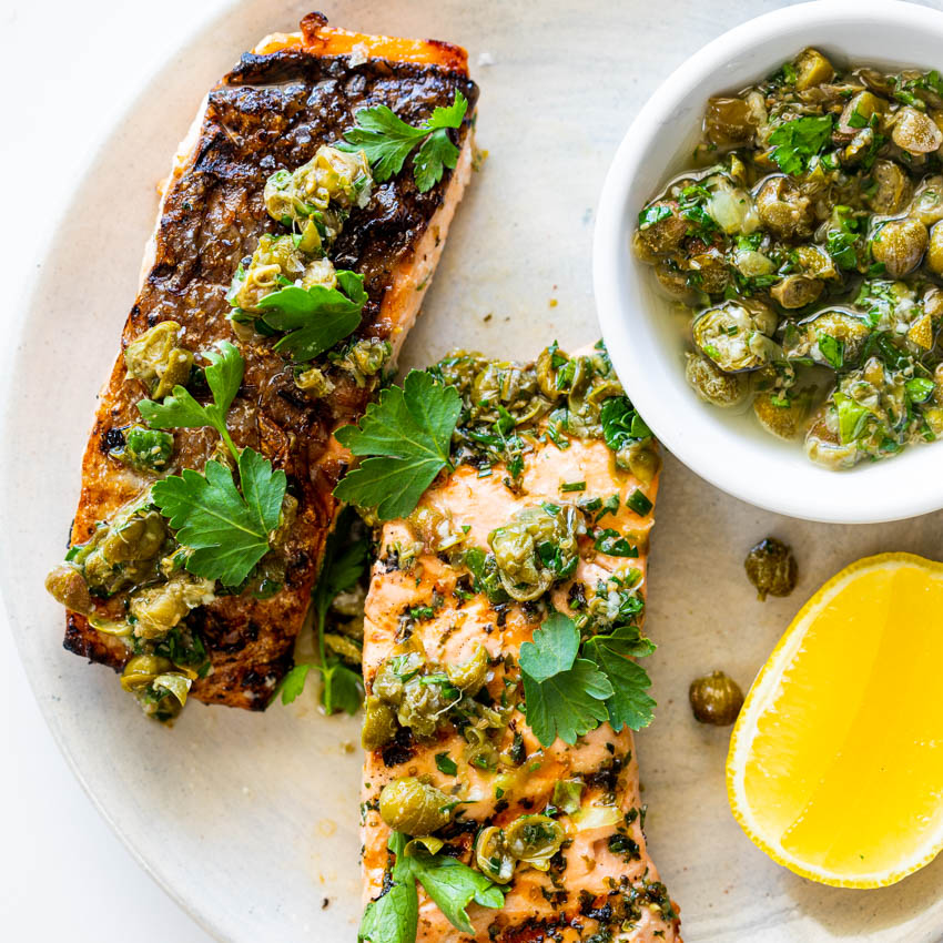 Easy Grilled Salmon With Lemon Caper Sauce Simply Delicious
