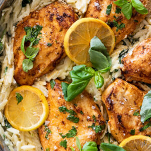 Easy lemon chicken with creamy spinach orzo