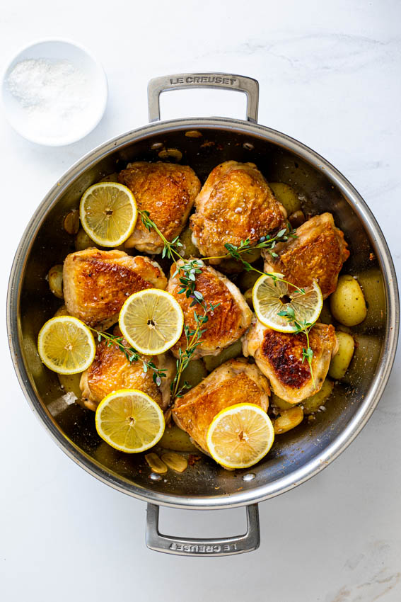 Easy chicken thighs with lemon thyme potatoes