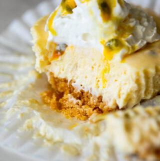 Mini Passion fruit no-bake cheesecakes