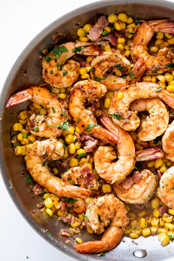 Juicy shrimp cooked with bacon and corn.