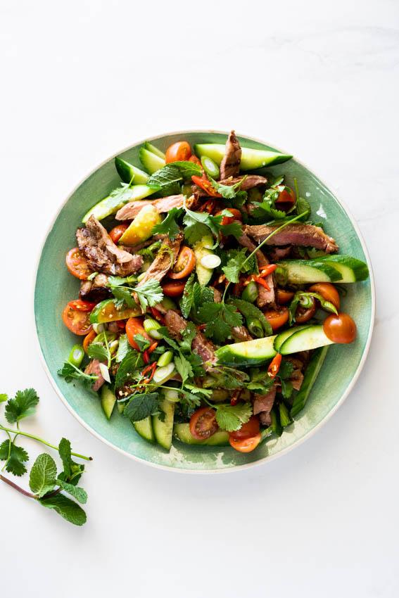 Thai beef salad with fresh herbs.