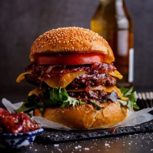 Bourbon-basted cheeseburger