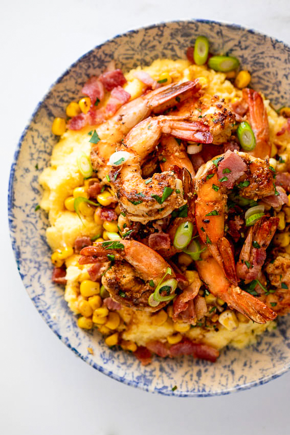 Shrimp and grits with bacon and corn