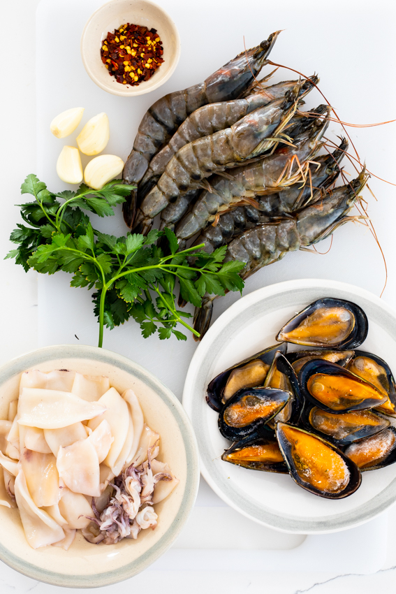 Seafood, herbs and garlic.
