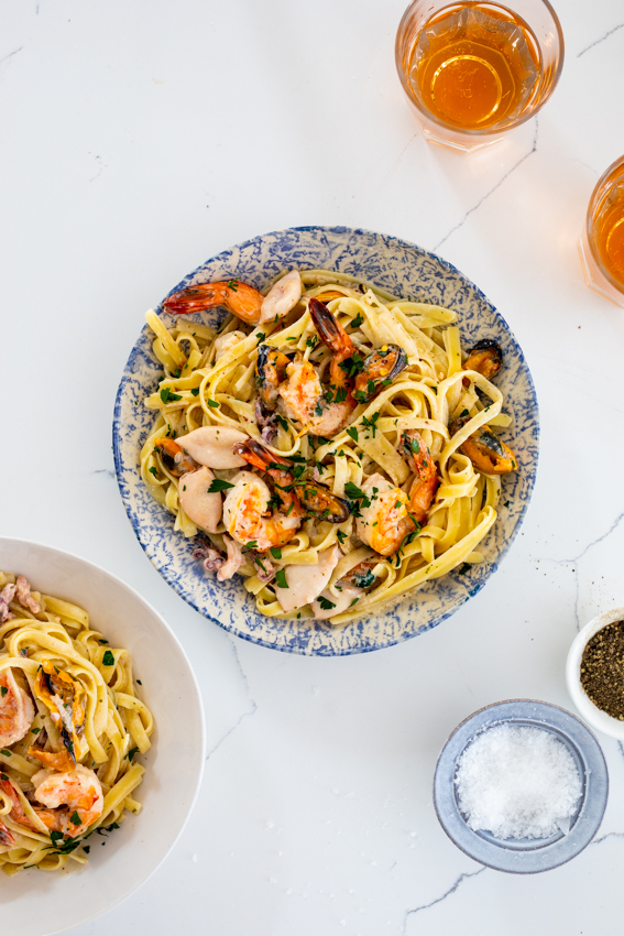 Creamy garlic seafood pasta is a delicious easy dinner recipe.