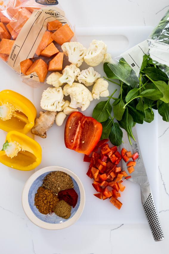 Vegetable curry ingredients