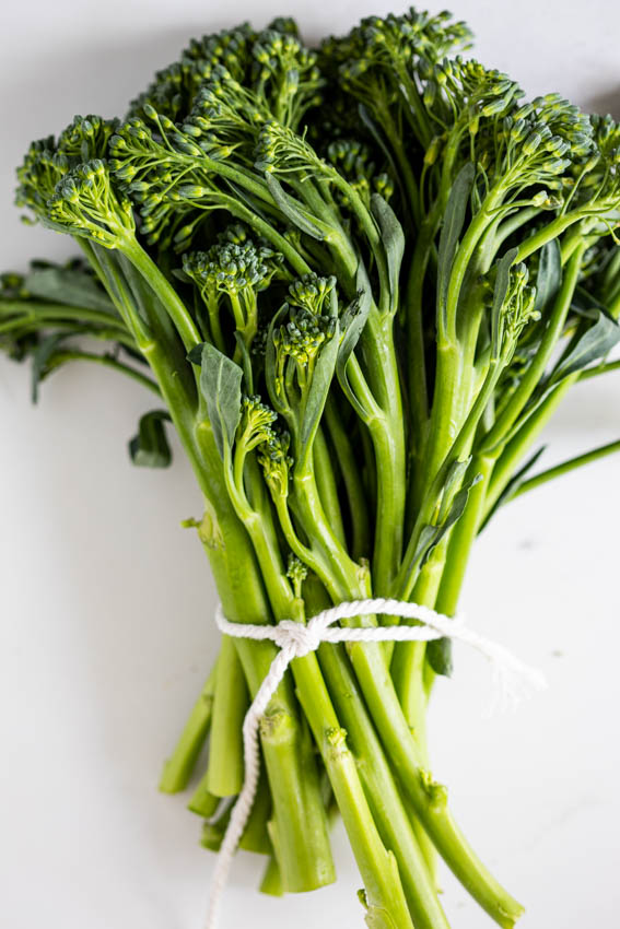 Broccolini tied in a bunch.