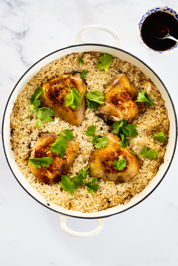 One pan Ginger chicken and rice.