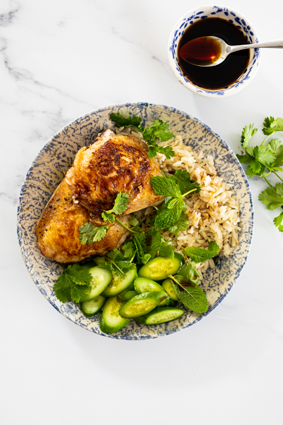 One pan Ginger chicken and rice with soy dressing.