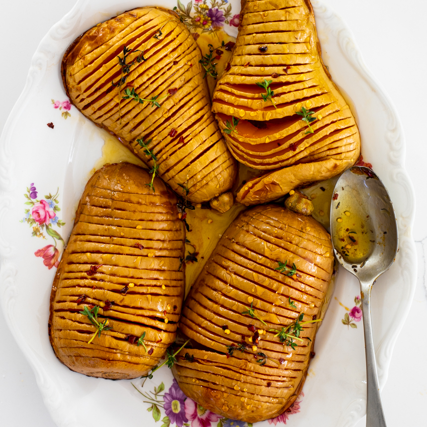 Hot Honey Hasselback Butternut Squash Simply Delicious