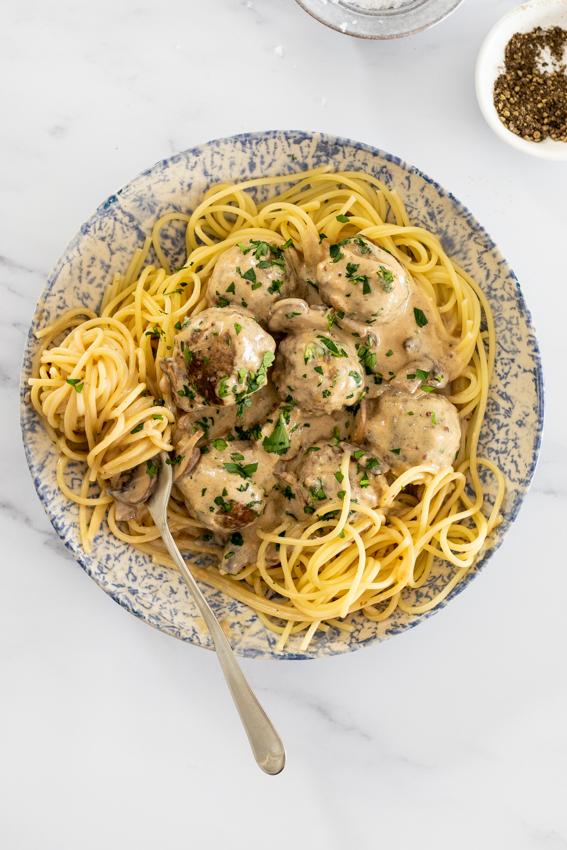 Meatball stroganoff with pasta.