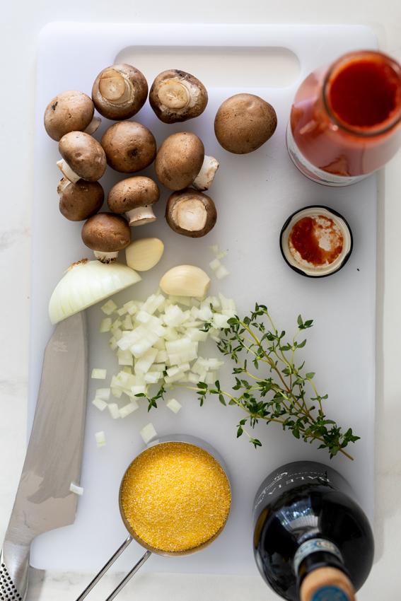 Ingredients for mushroom ragout.