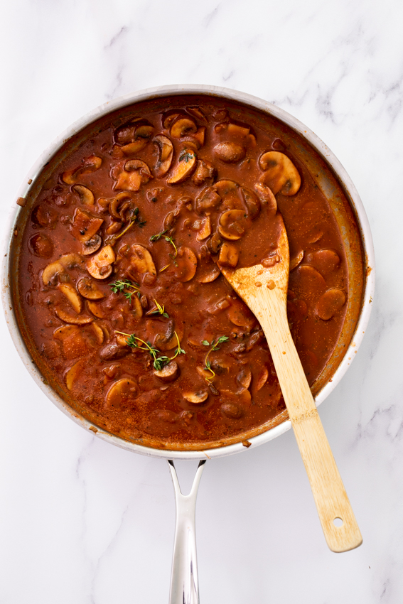 Slow cooked mushroom ragout.