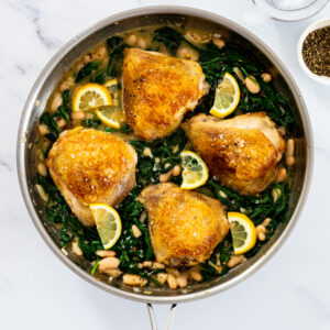 One pan lemon chicken spinach and beans.